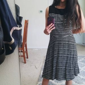 AB Studio Black and White Striped Sleeveless Dress